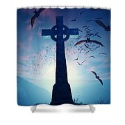 Celtic Cross With Swarm Of Bats Shower Curtain