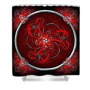 Celtic Dragons - Red Shower Curtain by Richard Barnes