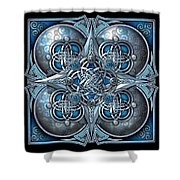 Celtic Hearts - Blue And Silver Shower Curtain