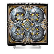 Celtic Hearts - Gold And Silver Shower Curtain by Richard Barnes