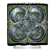 Celtic Hearts - Green And Silver Shower Curtain