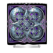 Celtic Hearts - Purple And Silver Shower Curtain by Richard Barnes