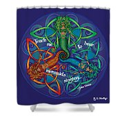 Celtic Mermaid Mandala Shower Curtain