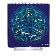 Celtic Mermaid Mandala In Blue And Green Shower Curtain