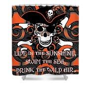 Celtic Spiral Pirate In Orange And Black Shower Curtain