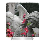 Cemetery Stone Angels And Flowers Shower Curtain