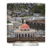 Cemetery In Old San Juan Puerto Rico Shower Curtain by Bryan Mullennix