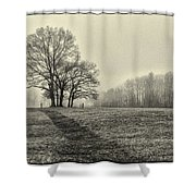Cemetery Trees In The Fog E185 Shower Curtain