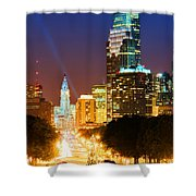 Center City Philadelphia Night Shower Curtain