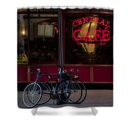 Central Cafe Bicycles Shower Curtain