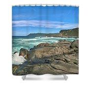 Central Coast Ca Ocean Waves Crashing On Rocks  4 Shower Curtain