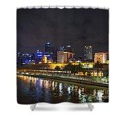 Central Melbourne Skyline At Night Australia Shower Curtain