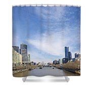 Central Melbourne Skyline By Day Australia Shower Curtain