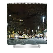 Central Melbourne Street At Night In Australia Shower Curtain