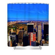 Central Park And New York City In Autumn Shower Curtain