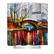 Central Park - Palette Knife Oil Painting On Canvas By Leonid Afremov Shower Curtain