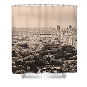 Central Park Pano Sepia Shower Curtain