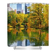 Central Park Pond Autumn Reflections Shower Curtain