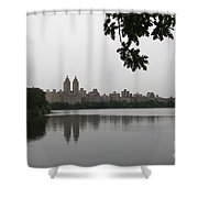 Central Park Reservoir With Reflection Nyc Shower Curtain