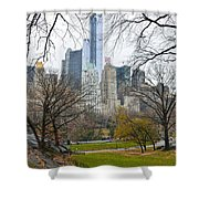 Central Park South Buildings From Central Park Shower Curtain