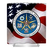 Central Security Service - C S S Emblem Over American Flag Shower Curtain