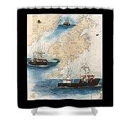 Centurion Trawl Fishing Boat Nautical Chart Art Shower Curtain