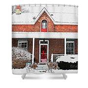 Century Home With Christmas Wreath Shower Curtain