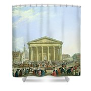 Ceremony Of Laying The First Stone Of The New Church Of St. Genevieve In 1763, 1764 Oil On Canvas Shower Curtain