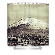 Cerro Rico Potosi Black And White Vintage Shower Curtain