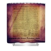 Certain Restrictions Apply Shower Curtain by Gunter Nezhoda