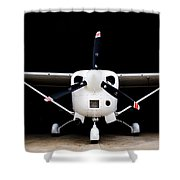 Cessna Dark Hanger Shower Curtain
