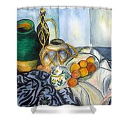 Cezanne Still Life With Apples In Watercolor Shower Curtain