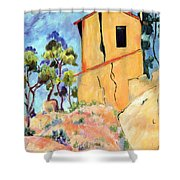 Cezanne's House With Cracked Walls Shower Curtain
