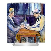 Cezannes The Card Players In Watercolor Shower Curtain