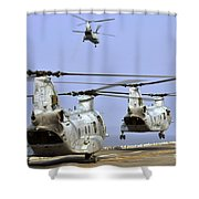 Ch-46e Sea Knight Helicopters Take Shower Curtain