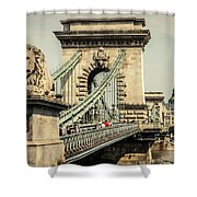 Chain Bridge Crossing The Danube River Shower Curtain