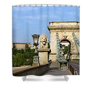 Chain Bridge In Budapest Shower Curtain