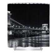 Chain Bridge Night Bw Shower Curtain