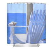 Chair View With Shell Shower Curtain