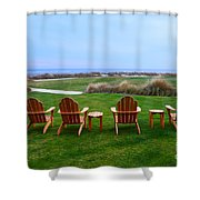 Chairs At The Eighteenth Hole Shower Curtain