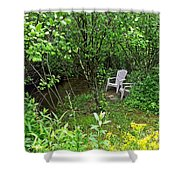 Chairs By The Creek In Summer Shower Curtain