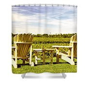 Chairs Overlooking Vineyard Shower Curtain