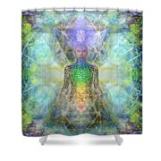 Chakra Tree Anatomy In Chalice Garden Shower Curtain