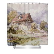 Chalet, Brunnen, Lake Lucerne Shower Curtain