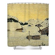 Chalets In Snow Shower Curtain by Giovanni Segantini
