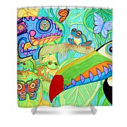 Chameleon And Toucan Shower Curtain