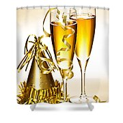Champagne And New Years Party Decorations Shower Curtain