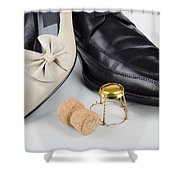 Champagne And Shoes For Saint Valentine Shower Curtain