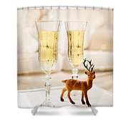 Champagne At Christmas Shower Curtain