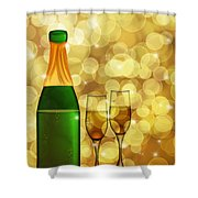 Champagne Bottle And Two Glass Flutes Shower Curtain